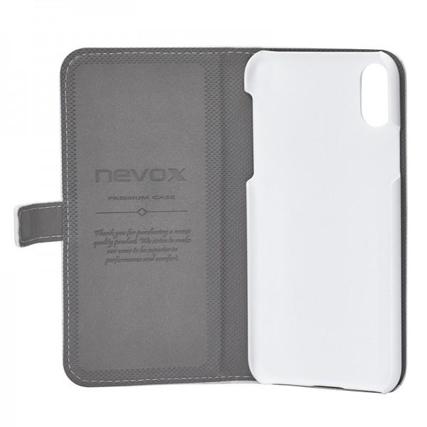 ORDO - iPhone XS / X Booktasche, weiss-grau