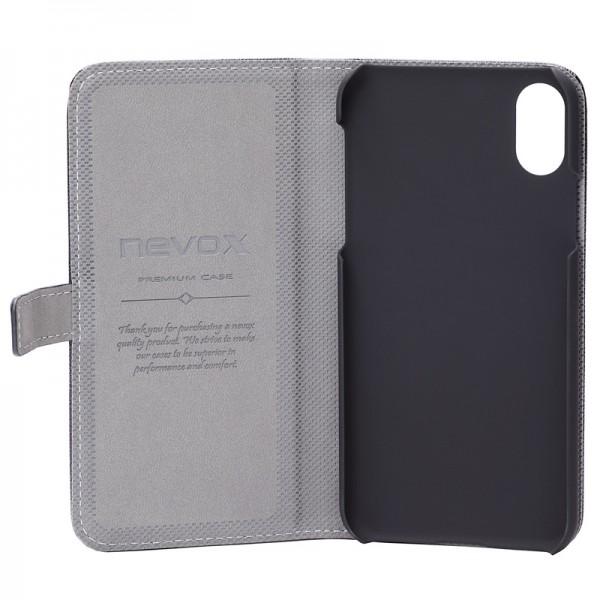 ORDO - iPhone XS / X Booktasche, schwarz-grau