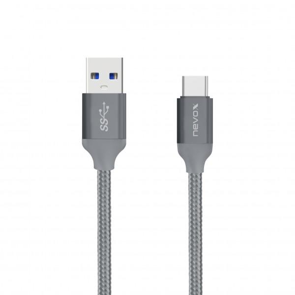 0.5M - Type C USB zu USB 3.0 Kabel Nylon geflochten - silbergrau