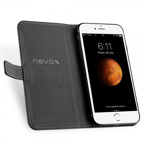 ORDO - iPhone 8 / iPhone 7 Booktasche, schwarz-grau