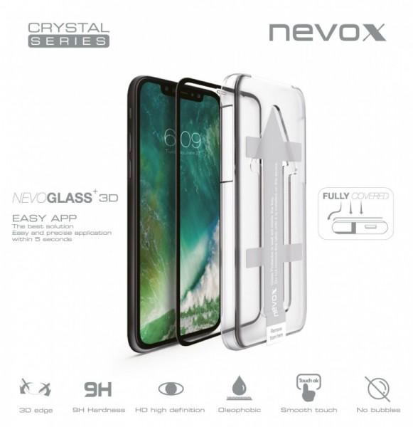 NEVOGLASS 3D - iPhone XS / X curved glass mit EASY APP schwarz