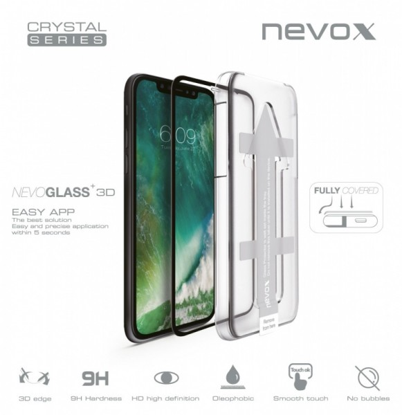 NEVOGLASS 3D - iPhone XS MAX curved glass mit EASY APP schwarz