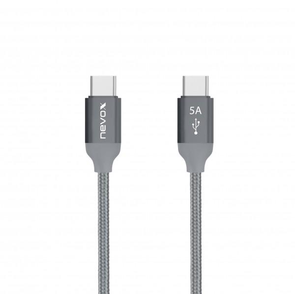 1M - USB Type C zu Type C USB 2.0 Kabel 20V/5A (100W) Emark IC - silbergrau