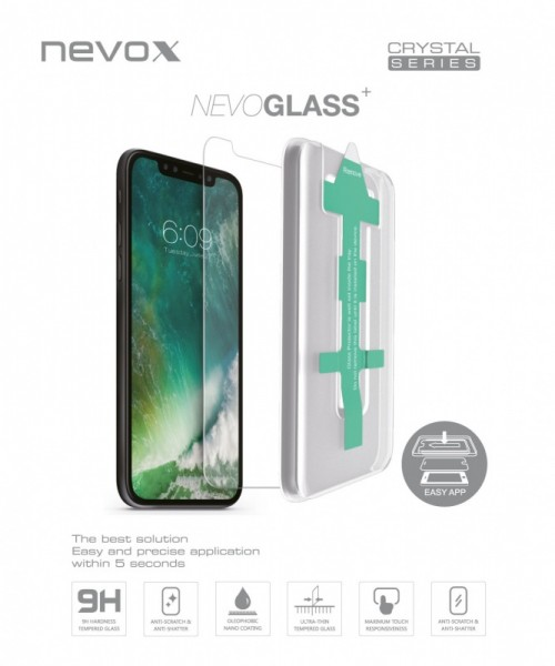 NEVOGLASS - iPhone XR tempered Glass mit EASY APP