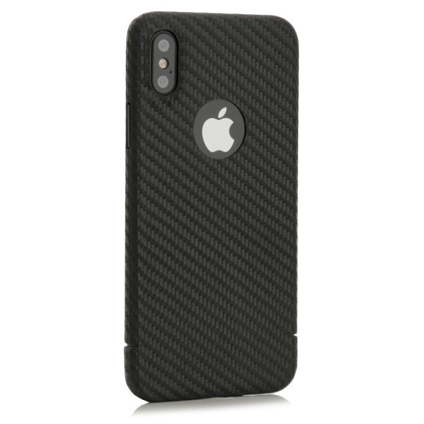 Carbon Series Cover - iPhone XS mit Logoausschnitt
