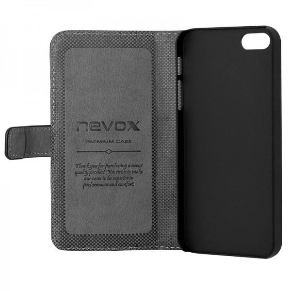 ORDO - iPhone SE / 5S / 5 Booktasche, schwarz-grau