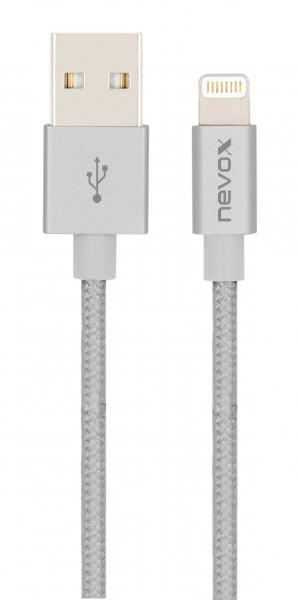 Lightning USB Datenkabel MFi Nylon geflochten 2M - silbergrau