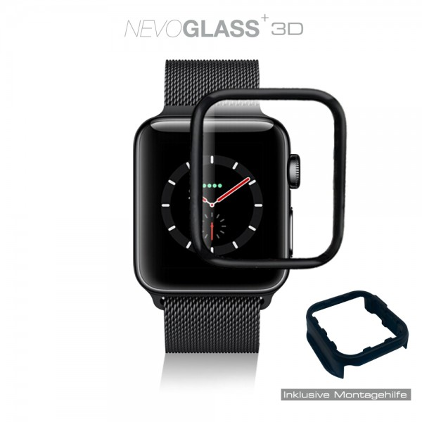NEVOGLASS 3D - Apple Watch 6 / 5 / 4 / SE - 44MM - curved hybrid glass mit EASY APP schwarz
