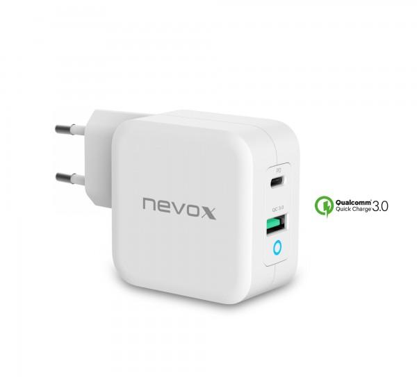 65W USB - C Power Delivery (PD) + QC3.0 Ladegerät GaN, Weiss