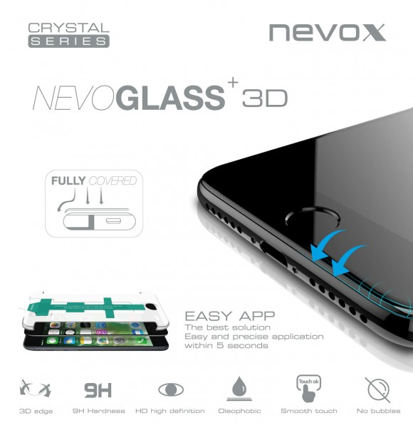 NEVOGLASS 3D - iPhone 8 PLUS curved glass mit EASY APP weiss