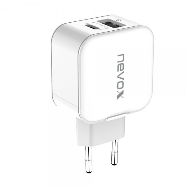 USB PD Type C + QC3.0 Ladegerät 18Watt weiss