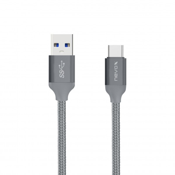 1M - Type C USB zu USB 3.0 Kabel Nylon geflochten - silbergrau