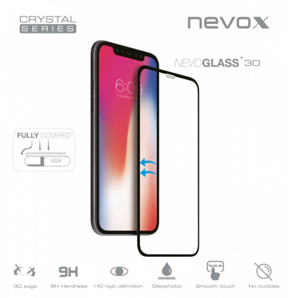NEVOGLASS 3D - iPhone XS MAX curved glass ohne EASY APP schwarz